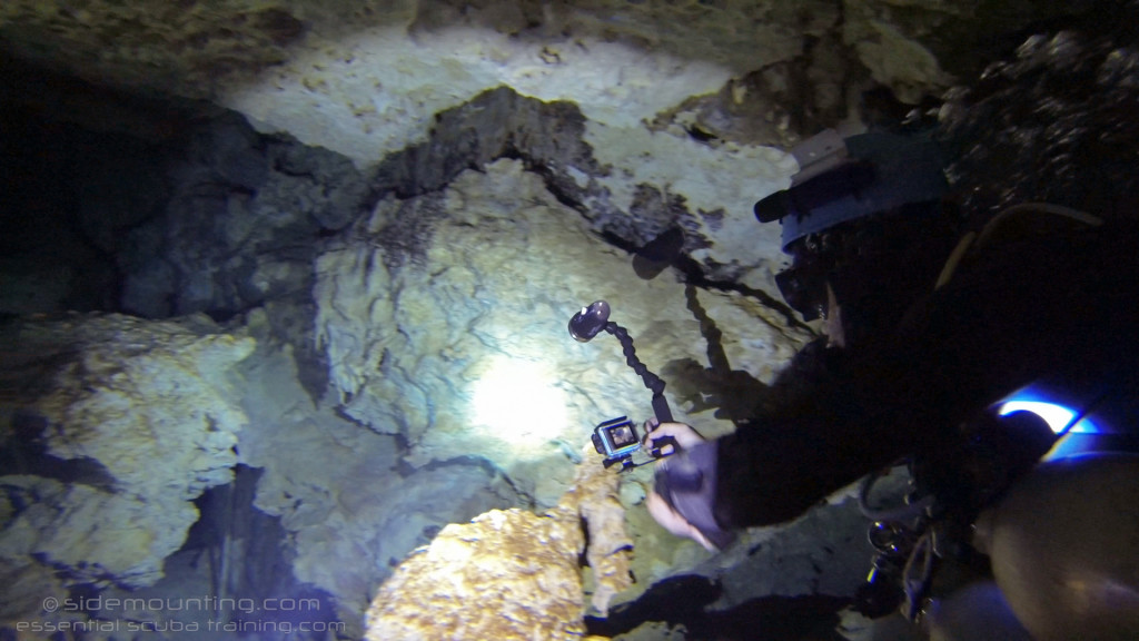 This is another way to mount your GoPro for cave diving with Steve Martin