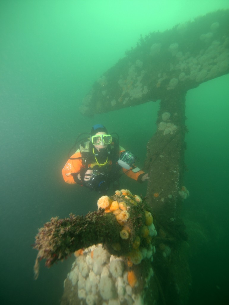 A diver on the Rosalie at Weybourne