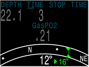 The offset between current and marked heading is now shown (in this example 16°)