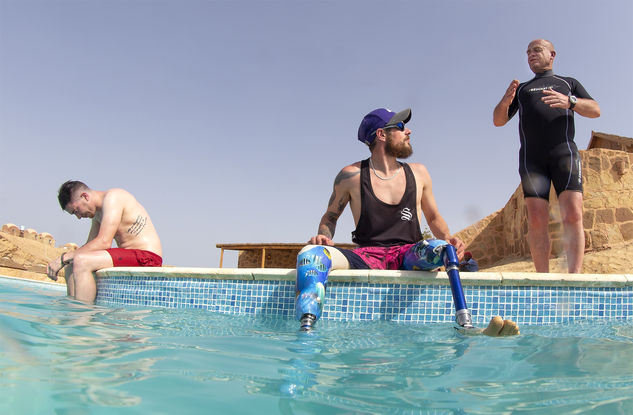 Deptherapy Ambassadors Chris Middleton and Tom Swarbrick with Instructor Andy Frith on a previous expedition to Roots Red Sea. Photo – Dmitry Knyazev for Deptherapy