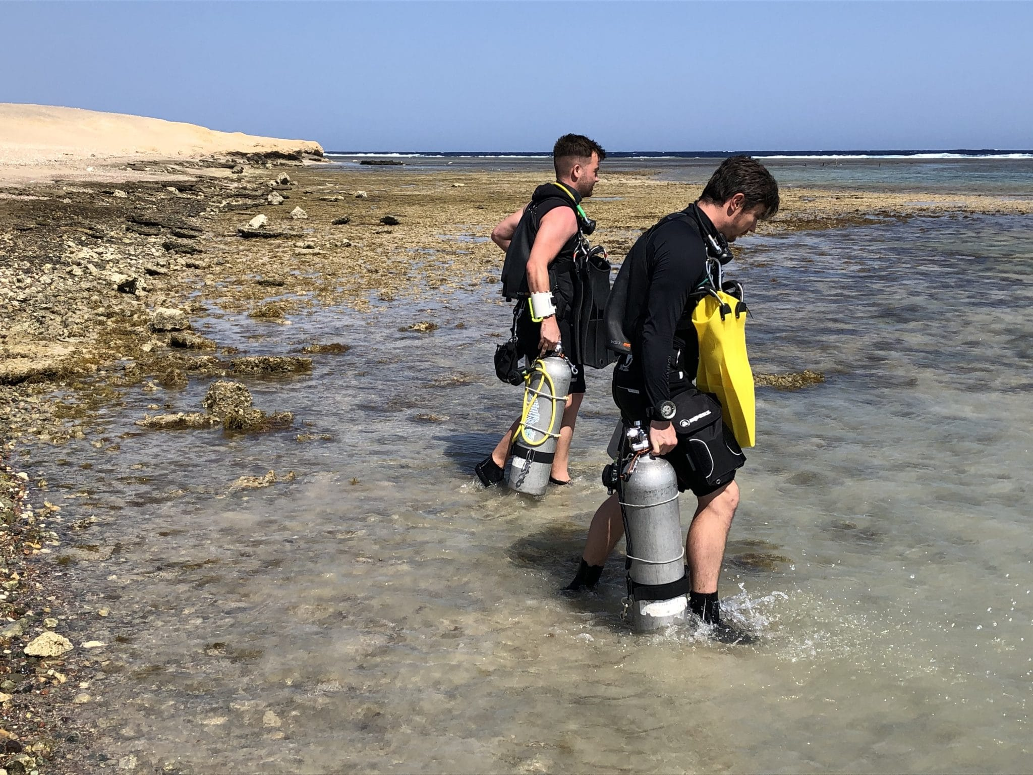 Deptherapy Ambassadors Tom Oates and Tom Swarbrick on their RAID Sidemount course last week at Roots Red Sea. Photo – Deptherapy