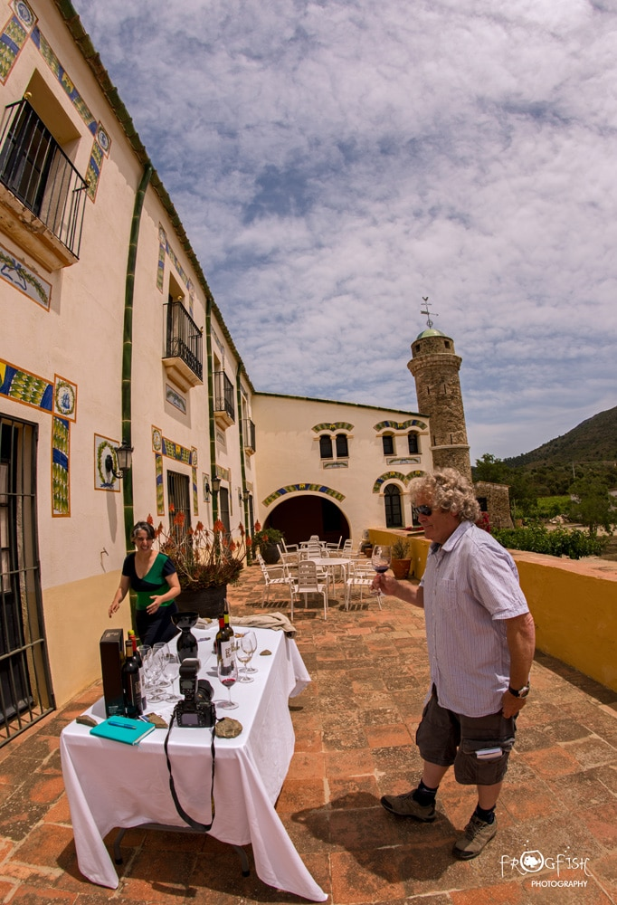 Tasting wines in the sunshine at Coll de Roses